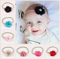 Wholesale Rose Pearl Flower Headbands - New Baby Headbands Chiffon Flowers With Pearl Rhinestone Center Girls Nylon Hairbands Children Hair Accessories Rose Bud Princess Headwear
