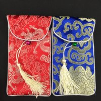 Wholesale Clamshell Purse - Tassel clamshell Silk Brocade Gift Bag with Neck Rope Jewelry Packaging Pouch Glasses Storage Bags Ladies Universal Cell Phone Purse Pocket
