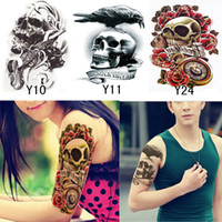 Wholesale Henna Temporary Tattoos Stickers - Wholesale- 3Pcs Women Men Temporary Tatoo Henna Cool Skull Tattoo Waterproof Fake Tattoos Tatuagem Tatouage 3D Body Art Sleeve DIY Stickers
