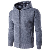 Wholesale Hooded Sweaters For Men - Autumn winter men's warm knit sweater young men's hoodie and hoodie knitwear sports jacket sport for run