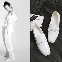 Женщины Loafers Square Toe Slipony Fashion All Match White Leather Leather Buckle Женская обувь Comfort Ladies Street 2017 New Drop Shipping