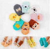 Wholesale Boys Cotton Slipper Socks - Baby Infant Socks 2017 Tiger Dark Toddler Girl Boy Non Slip Animal Dog Socks Casual Cotton Slipper Newborns Short Floor Socks