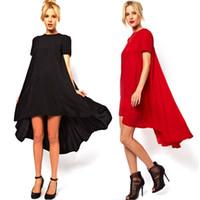 Wholesale Dovetail Dresses - 2017 Women Dovetail Short Sleeve Dresses Irregular Dress Pure Color Chiffon Dress