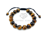 Wholesale Tigers Eye Bead Strand - Natural Tiger Eye Stone Beads Elastic Rope Bracelet with Fengshui Coin Yoga Tibetan Prayer Mala Buddha Weaving Bracelet