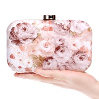 Atacado-Moda Pu Mulheres Bolsas Printed Leather Floral Flower Evening Bags Vintage Small Wedding Party Chain Shoulder Clutches Bag