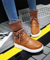 Wholesale Wedge Ankle Wool Boots - New Arrival Hot Sale Specials Super Fashion Influx Martin Retro Knight Warm Students Snow Cotton Wool Stitching Lace Up Ankle Boots EU34-39