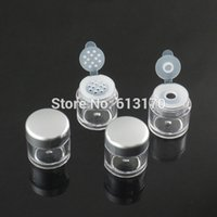 Wholesale Plastic Sifter Jars - 5G loose Powder Jars with Sifter Mesh Empty Diy Make-up nail glitter container Packing case silver cap free shipping