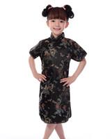 çince cheongsam çocuklar toptan satış-Shanghai Hikayesi Sıcak satış Çinli Çocuk Çocuk Kız Ejderha Cheongsam Elbise kızlar Qipao Sahte Ipek Qipao Oryantal Elbise ücretsiz kargo