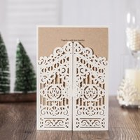 Wholesale Laser Grade - High-grade hollow out Invitations Cards Elegant White Laser Cut Tree Silk Tie a hot sale in The wedding season WQ06