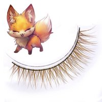 Wholesale Fox Fur Strips - False Eyelashes Color Fake Eyelashes Natural Crisscross Soft Fidelity Brown Fox Fur Cotton Stalk Makeup Stage Lashes