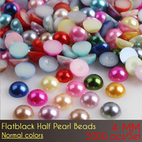 Wholesale 4mm Pearl Flatback - Imitation Pearls Half Round Flatback Beads For DIY Decoration ABS Half round Pearl Beads 4mm Normal Color 5000pcs Set