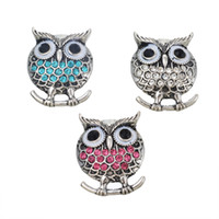 Goutte À Goutte Pas Cher-19mm Ancient Silver Fixed Mixed Drip Diamond Studs Owl Shape Boutons Fashion Jewlery Gift Colors Designs Mix Snap Charm Jewelry N115S