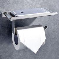Wholesale Paper Shelf - Toilet Paper Holder 304 Stainless Steel Bathroom Tissue Holder With Mobile Phone Storage Shelf CZH003