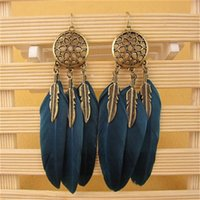 Wholesale Heart Dreams - Hot Dream Catcher Hollow out Vintage Leaf Feather Dangle Earrings For Women Bohemia Earring Lady's Ethnic Indian Jewelry
