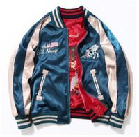 Wholesale Blue Baseball Jacket Women - spring men women Embroidery bomber jacket two-side wear baseball jackets vintage Yokosuka flight jacket kanye west jacket ..