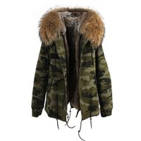 Wholesale Double Hood Jacket - Mrs furs Camouflage jackets women's mini furs parka hooded with 100% Raccoon fur hood collar Removable liner