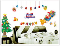 Decoracion De Paredes Baratos-Merry Christmas Wall Stickers Decoración Santa Claus hacer imitación 3D windowWall Mural Removible Dormitorio Decor Wall Stickers
