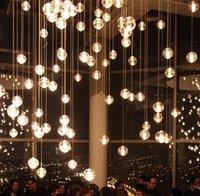Wholesale Office Room Decor - G4 LED Crystal Glass Ball Pendant Light Rain Meteoric Shower Stair Bar Droplight Crystal Chandelier AC85-260V Christams decor Lamp