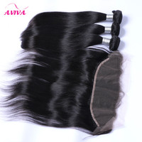 Wholesale Chinese Virgin Lace - Brazilian Straight Virgin Hair Weaves 3 Bundles With Lace Frontal Closure Peruvian Indian Malaysian Cambodian Human Hair Ear to Ear Closures