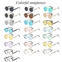 Wholesale Wholesale Steampunk Glasses - Colorful Round Metal Sunglasses Steampunk sunglasses for men sunglasses for women Fashion Glasses Sung lasses 22 kinds of style selection