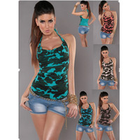 Dames Sexy Nues Pas Cher-2017 Hot Summer Camouflage Tshirt Ladies New Item Sexy Slim Camouflage Naked Back T-shirt Neck Hanger Loop String en Stock