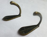 Wholesale Wholesale Single Robe Hook - New Single Prong Clothes Coat Robe Purse Hat Hook Hanger Antique Bronze 3.4cm