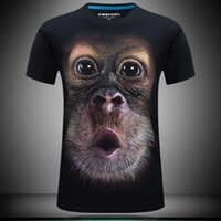 Wholesale Fat Clothes - 3d t shirts men personality funny orangutan designer clothes plus size fat animal t shirt print streetwear fashion tee t shirts for men