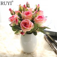 Artificial Silk 5pcs French Rose Floral Bouquet Fake Flower Arrange Table Daisy Wedding Home Decor Party Accessory Flores In Bulk Price