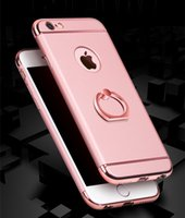 Wholesale Three Mobile Cell Phones - Fashion Electroplated Three In One Cell Phone Case Back Cover For Iphone 7   6  6s   5  5s   Plus Mobile phone shell Scrub