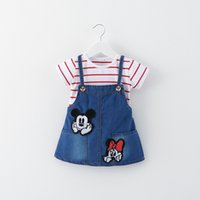 Wholesale Dress Denim Minnie - 2017 The new children's clothing girls summer dress strap Mickey Minnie stripes fake two-piece denim strap