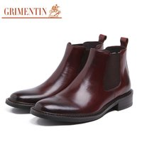 Wholesale Mens Business Boots - GRIMENTIN Brand Italian mens ankle boots genuine leather handmade black brown business office men shoes size:38-44 SH227