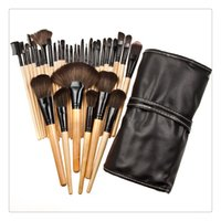 conjuntos de maquillaje superior al por mayor-32 UNIDS Cosmético Facial Maquillaje Cepillo Kit Lana Profesional Pinceles de Maquillaje Herramientas Conjunto con Estuche de Cuero Negro Maquillaje Cepillo Cosmético Set Kit Top