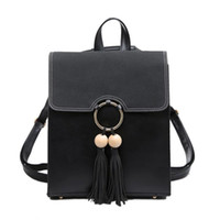 Wholesale Trade Backpack - sssForeign trade trend of Korean version of the fringed shoulder bag Ms. new tassel hit color stitching small backpack Korean version of t