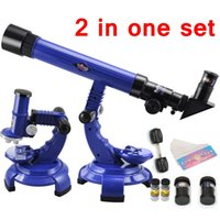 Wholesale Astronomy Telescopes - Wholesale- New Telescope Microscope 2 in one Set Science Nature Educational Astronomy Learning Kids Toy