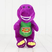 muñecas de amor de felpa al por mayor-30 cm dinosaurio cantando Barney Child's Best Friend felpa peluche relleno muñeca juguete para niños regalo canta TE AMO envío gratis el ccsme