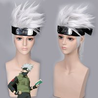 Anime NARUTO Hatake Kakashi Cosplay Perruques Exclure Headwear Halloween Party Costumes Argent Blanc Cheveux courts Perruque synthétique Anime