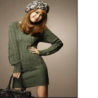 Wholesale Dress Belts Jumper - Wholesale-New Long Sweaters Autumn Winter Women Fashion Pullovers Jumper Fall 3 Solid Colors V-Neck Basic Knitted Sweater Dress 658742