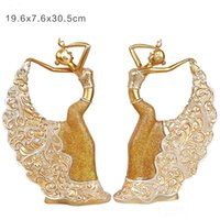 Wholesale Peacock Furnishings - 2-piece European style wine cabinet ornaments Peacock Dancer handmade resin crafts luxury home furnishings New year living room decorations