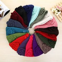 Wholesale Mexican Headbands Flower - 100pcs Women Fashion Wool Crochet Headbands 24 colors Knit Hair bands Flower Bands Winter Ear Warmer Wool hair bands dhl free shipping