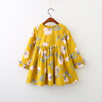 Wholesale Girls Christmas Dresses Wholesale - Everweekend Girls Floral Cotton Dress Cute Baby Children Yellow and Purple Color Western Kids Spring Fall Dresses