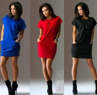 Wholesale Seller Dresses Blue - Europe Station Suit-dress Will Code Short Sleeve Pocket Best Sellers Dress Clothing Ladies Casual Dresses For Women Clothes Woman