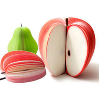 poire en papier achat en gros de-À la mode Style coréen Mignon Apple Note Papier Note Note Pads de papier Portable Papiers Bloc-notes Post Sticky 3D Apple Forme de poire Forme