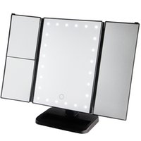 Wholesale Stand Up Mirrors - Trifold Make Up LED Mirror 24 Led Lighted with Touch Screen, 1x 2x 3x Magnification and Usb Charging 180° Adjustable Stand for Countertop