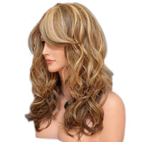 Wholesale Long Brown Blonde Wavy - wig withe WoodFestival party mixed color long wavy wig with bangs 60 cm heat resistant brown blonde synthetic wigs for women hair