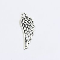 Wholesale Tibetan Jewelry Accessories Wholesale - Wholesale- Tibetan Silver Plated Angel Wings Charms Pendant Bracelets Necklace Jewelry Making Accessories DIY 32X12mm