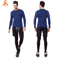 Wholesale Custom Leggings - Wholesale- YD New Logo Custom 3 pcs Men Sets Fitness Tights Tracksuit Training Long t-Shirt Leggings Gym Running Set Compression Sport Suit