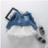 Wholesale Baby Tulle Coat - Baby kids outfits fashion girls long sleeve ruffle collar tulle dress+denim bows V-collar coat 2pcs sets 2017 new Kids outfits G0768
