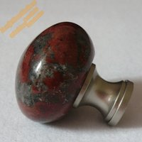 Wholesale Unique Knobs - Wholesale- 32mm Unique Mushroom Knob,Granite Cupboard Door Knobs Round Kitchen Cabinet Handles,Natural African Red Stone Furniture Hardware