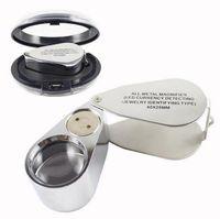 microscopio de luz uv al por mayor-Venta caliente herramienta de reparación de relojes Metal Joyero LED Microscopio Lupa Lupa Lupa de luz UV con caja de plástico 40X 25 mm