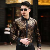 Wholesale Mens Gold Shirts - Wholesale- 2016 Mens Gold Shirts Cashew Flowers Print Camisa Masculina Luxury Baroque Blusa Xadrez Pleuche Casual Shirts Dress Club Outfits